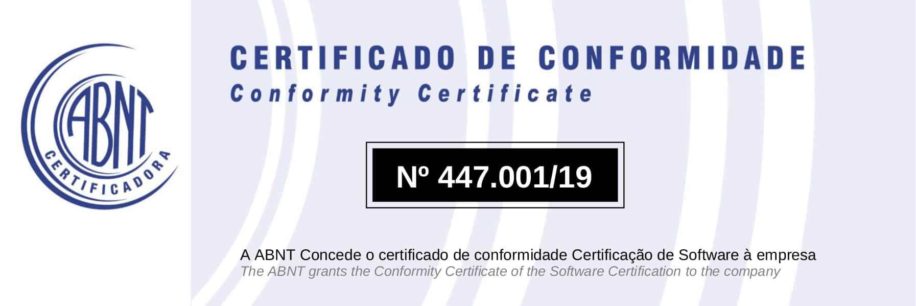 Certificado de Conformidade ABNT